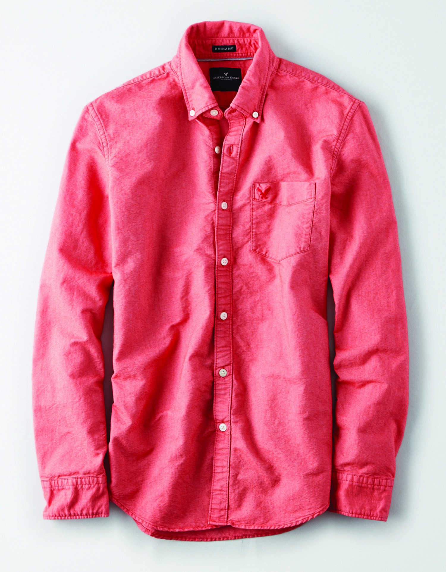 AE - INTL - Apparel - M - SF YD OXFORD - Red - Left chest pocket - red embroidered eagle on pocket - button collar BG