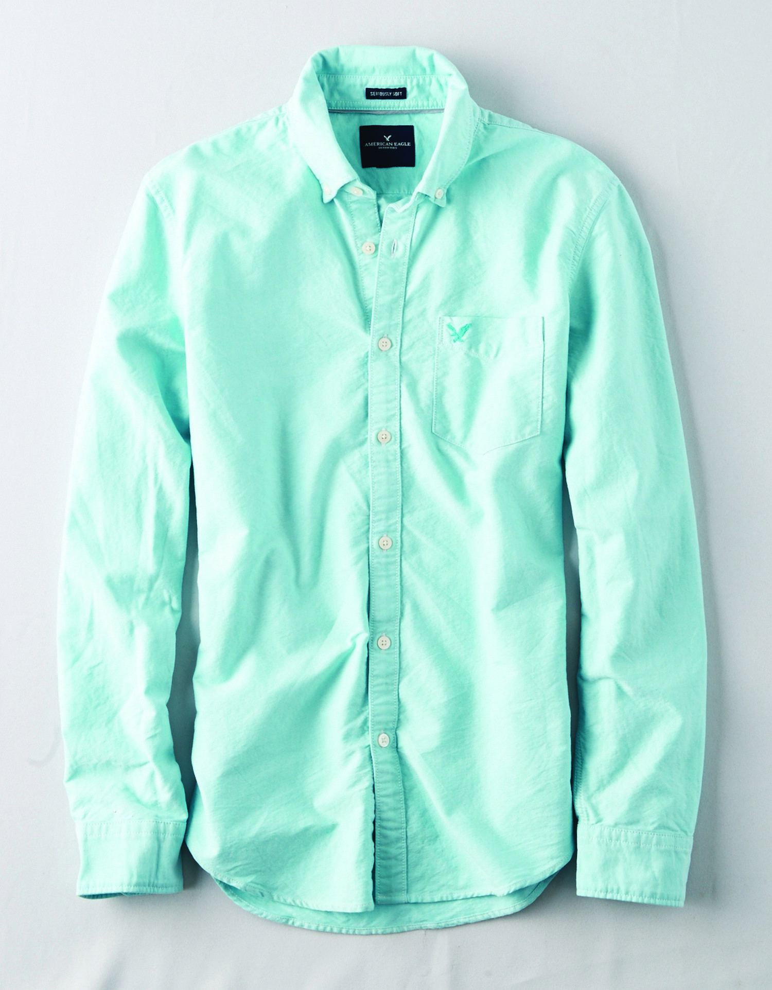 AE - INTL - Apparel - M - INT 1007 SF OXFORD W EAGLE - Mint Green - Left chest pocket - mint green eagle on pocket - button collar BG
