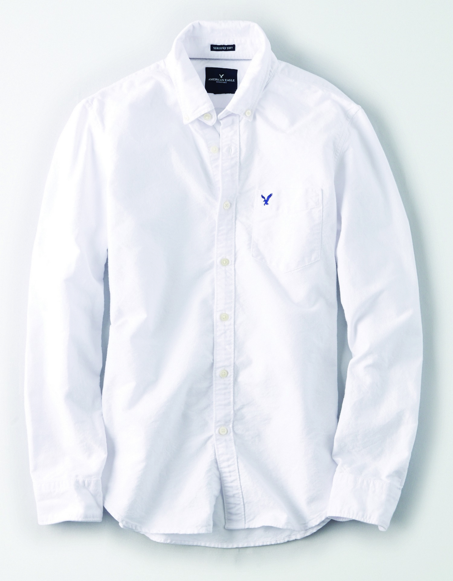 AE - INTL - Apparel - M - YD SOLID OXFORD - White Button down - left chest pocket - button collar - solid color - white buttons BG