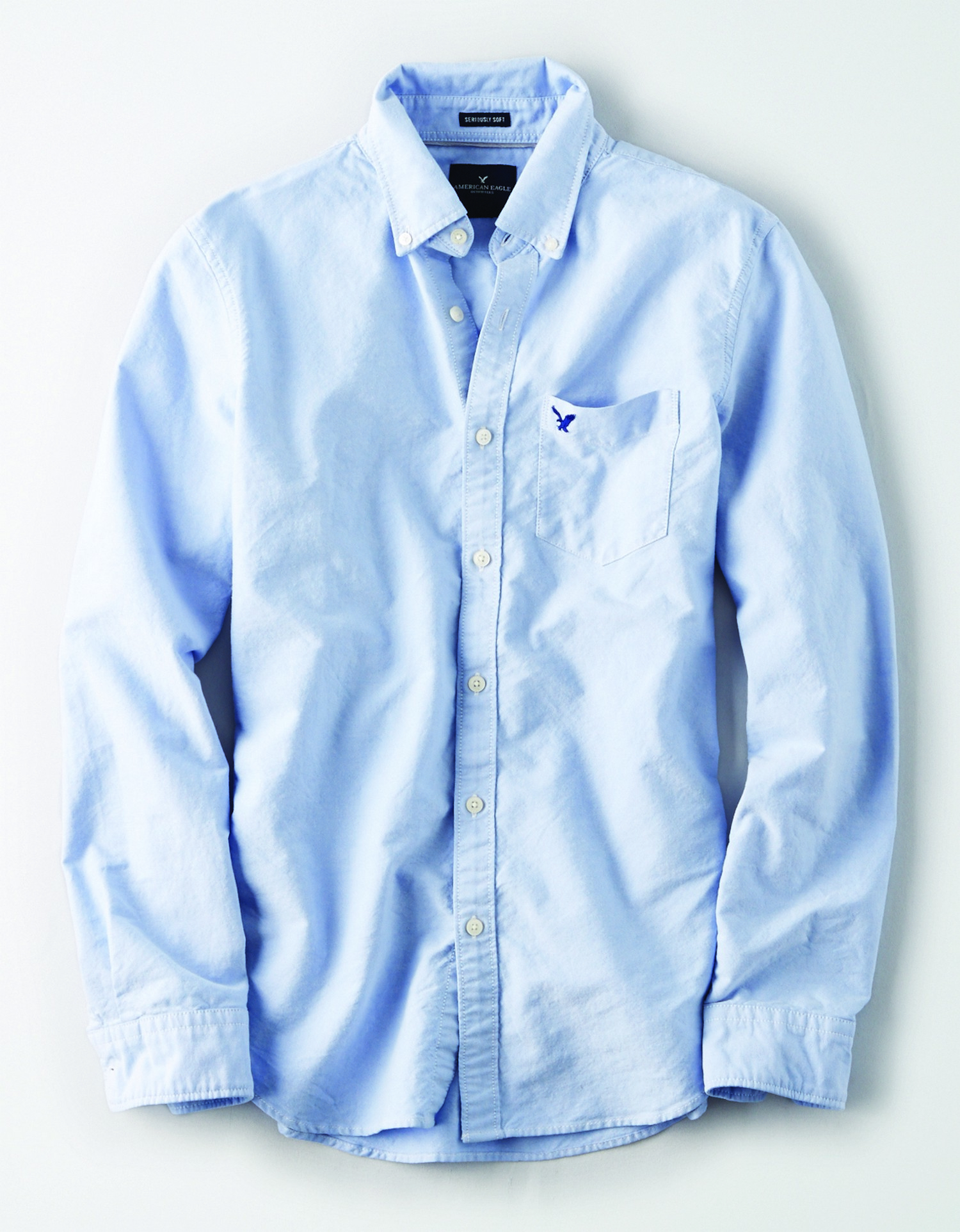 AE  INTL- M - Apparel - YD SOLID OXFORD  - BLue - Left chest pocket - button down - cream buttons - button collar BG