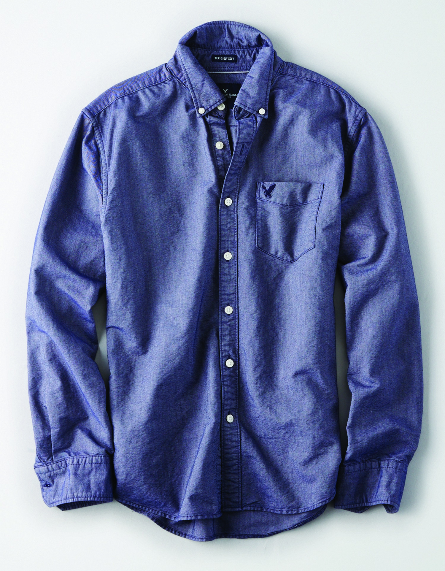 AE - INTL - Apparel - M - CF BD Oxford w/Eagle - Dark Blue - solid color - Navy Blue embroidered eagle on left chest pocket KS *Tracked