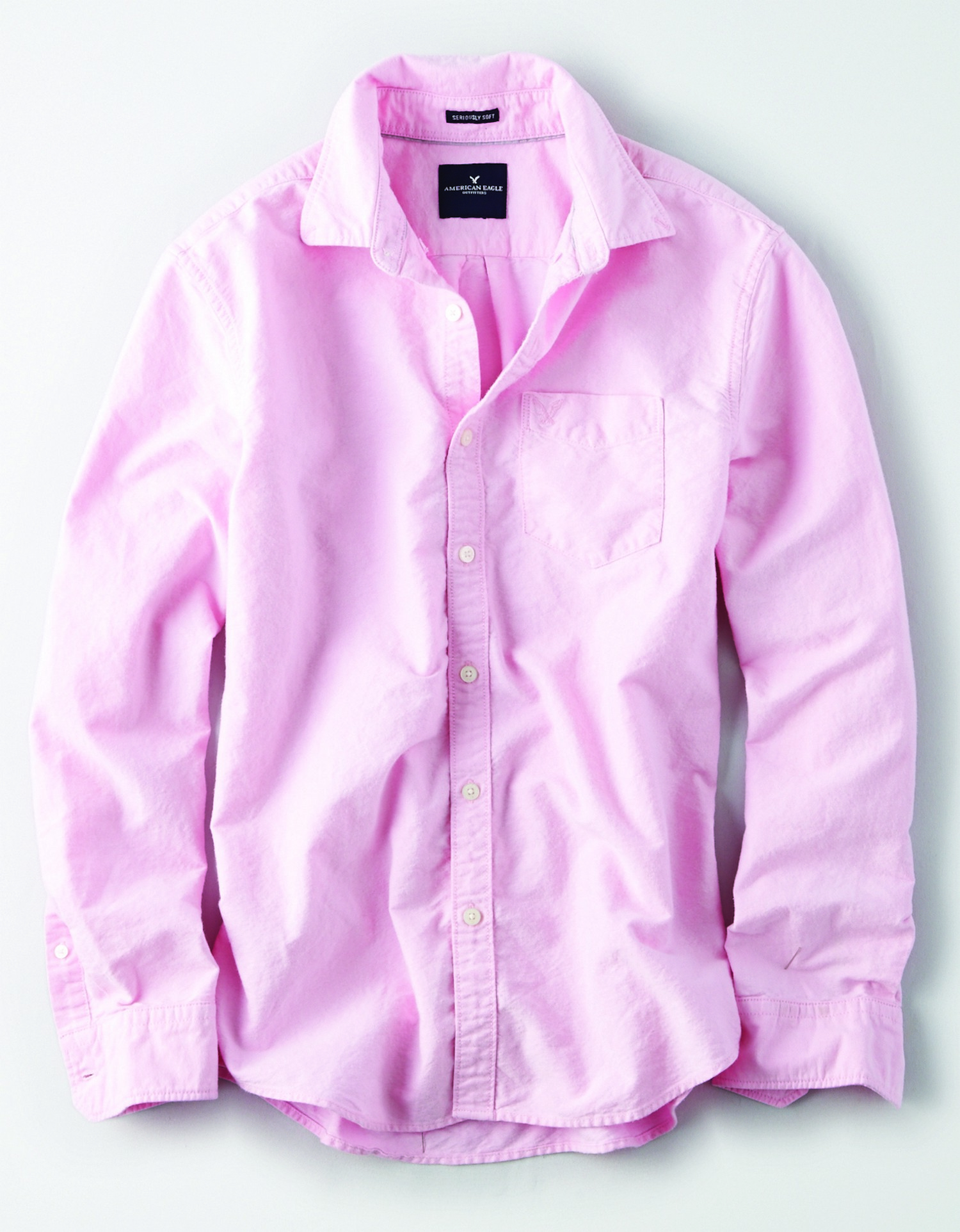 AE INTL  - M -YD SOLID OXFORD - Pink - Left chest pocket with embroidered eagle -l/s button down - cream buttons - BG