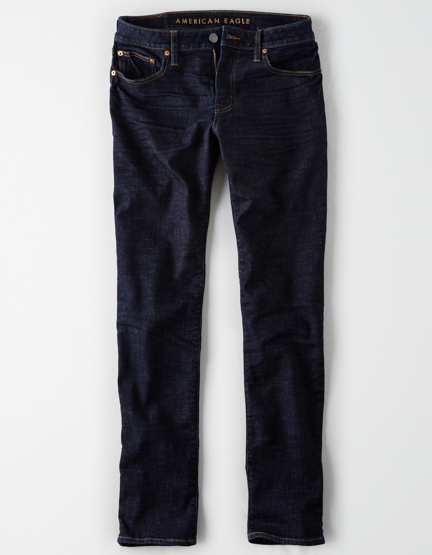 AE - M - Denim - AEO NE(X)T LEVEL FLEX SLIM STRAIGHT JEAN - Dark Wash - Dull dirty silver button - shiny copper rivets - no destroy KS