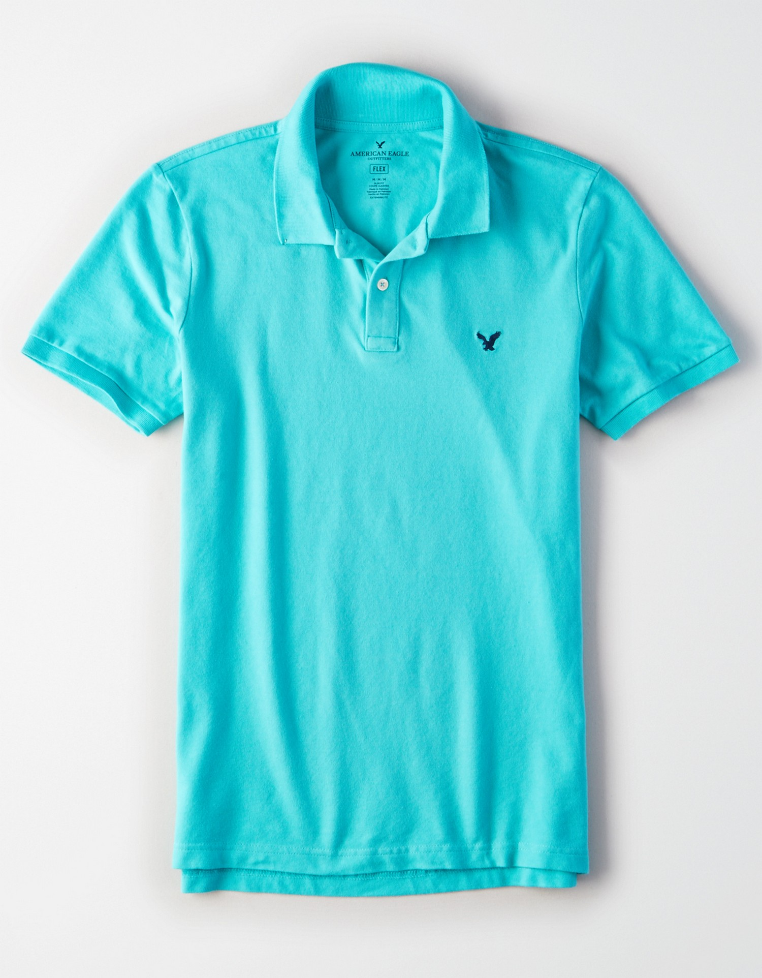 AE - INTL - Apparel - M - Slim Fit Solid Polo - Bright Turquoise - Solid Color - small navy blue embroidered eagle on left chest - light beige buttons AL  *Tracked